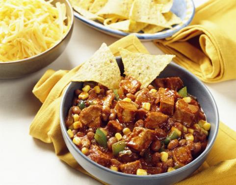 bowl of tofu chili