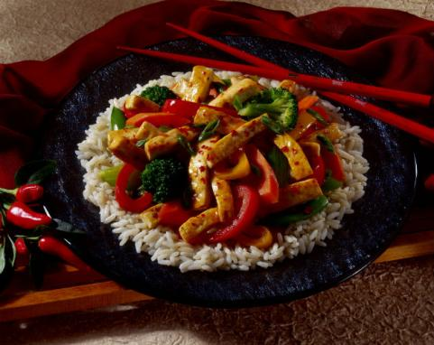 tofu stir fry over rice