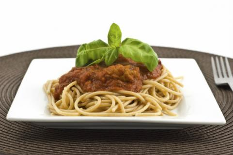 plate of whole-wheat pasta bolognese