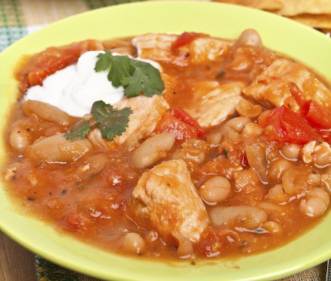 bowl of turkey and bean chili