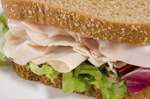turkey sandwich on whole-wheat bread