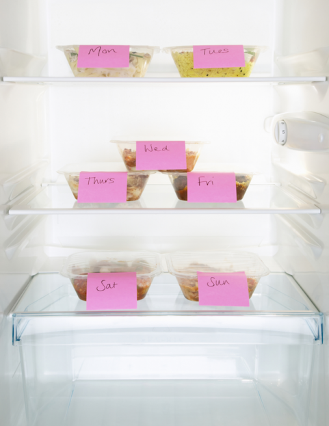 meal portions for the week in the fridge