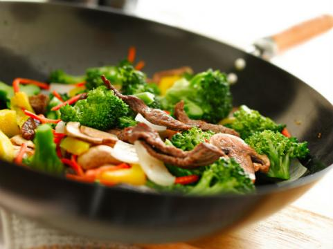 vegetable stir-fry in wok
