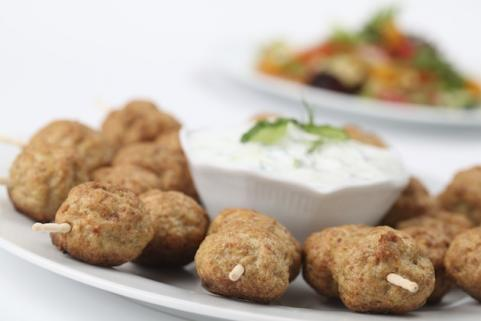 kebabs with yogurt dip