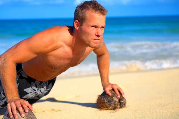 Push-ups on the beach