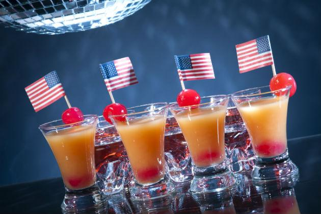 cocktails garnished with american flags
