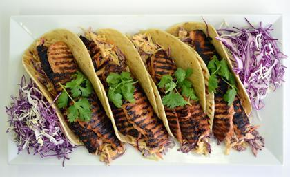 Norwegian Salmon Korean Tacos With Spicy Slaw