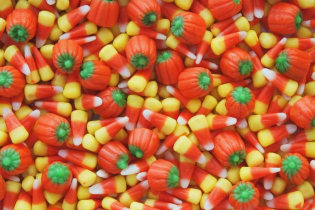 pile of candy corn and candy corn pumpkins