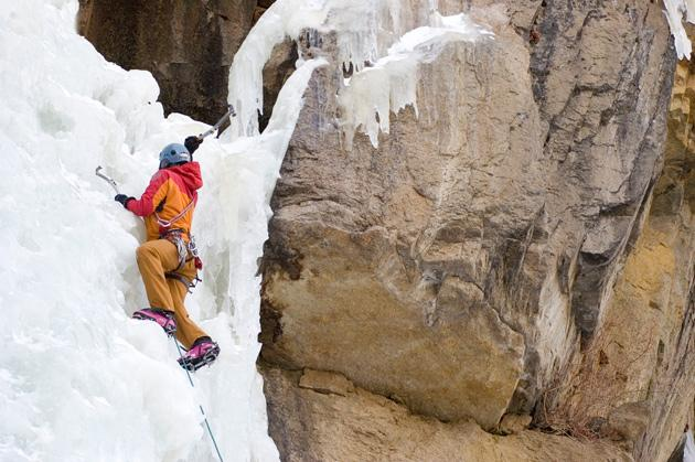 man ice climbing in Estes Park, Colorado