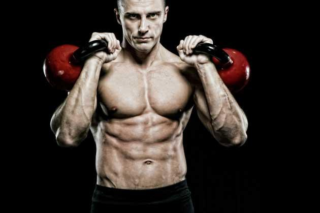 man kettlebell training