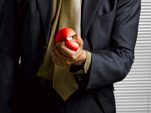 man using stress ball