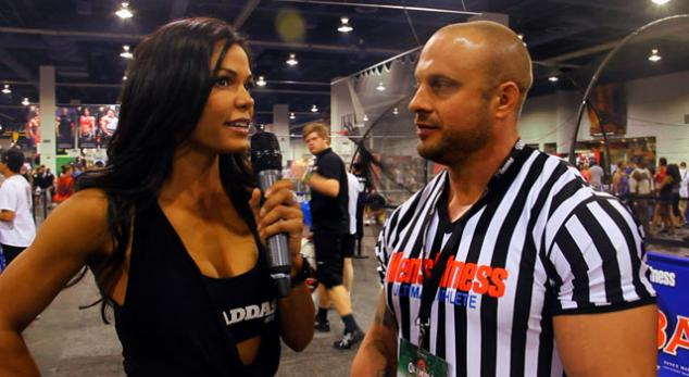 IFBB Pro Talia Terese interviews athletes at the 2012 Men's Fitness Ultimate Athlete Event, Olympia Weekend, Las Vegas, NV.