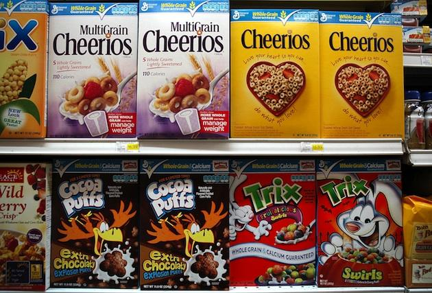 Different cereals in a grocery store