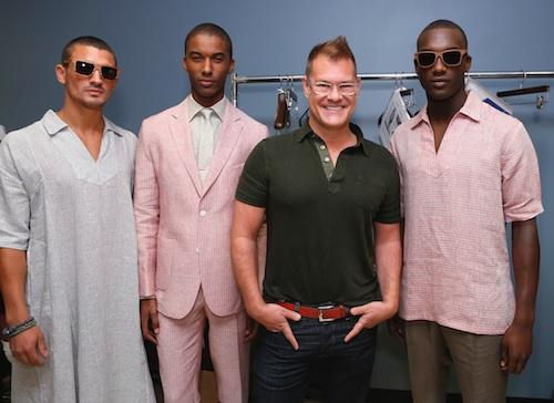 John Bartlett backstage at Mercedes Benz Fashion Week with models