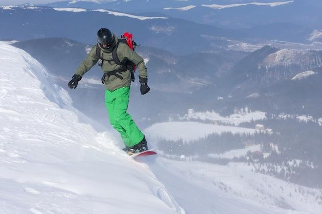 backcountry snowboarder, with helmet
