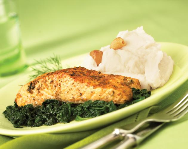 baked salmon with sauteed spinach and mashed potatoes