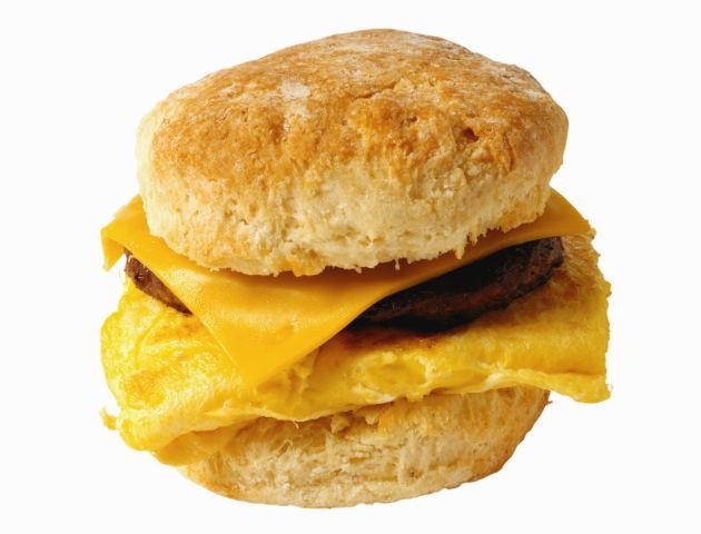 egg and sausage breakfast sandwich on a biscuit