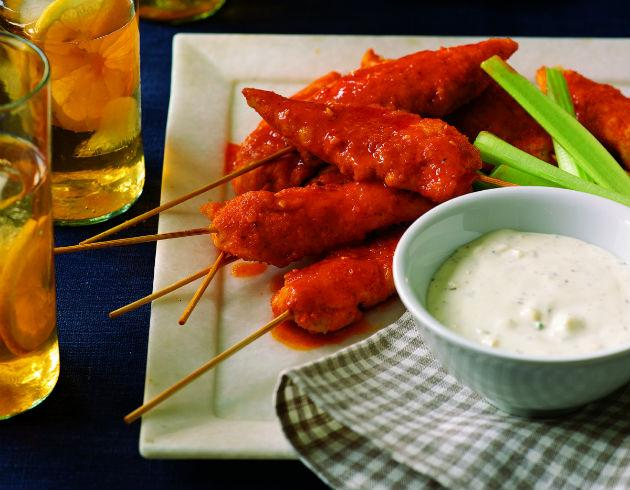 skewered buffalo chicken and blue cheese dressing