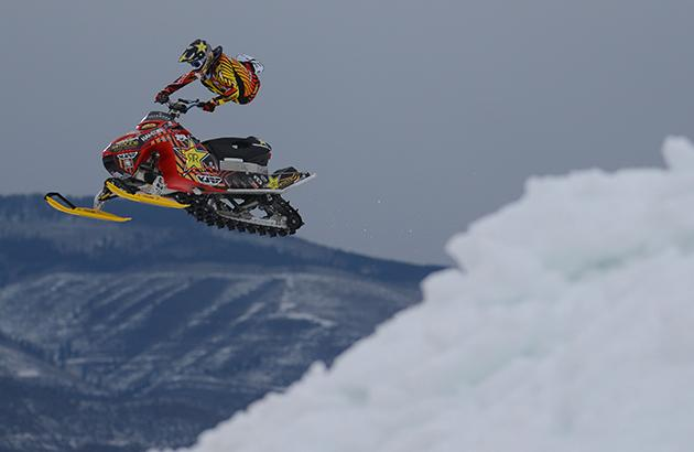 Caleb Moore on snowmobile at Winter X Games