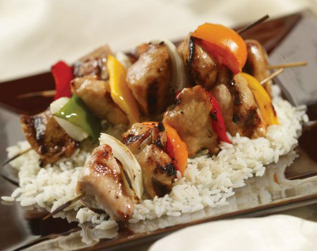 chicken yakitori over rice