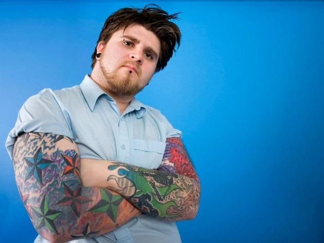 Douchebag posing with tattoos