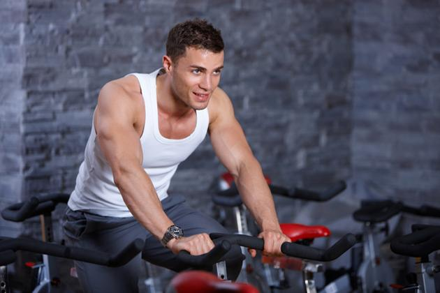 man on spin bike