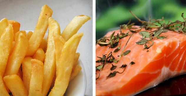 Fries and salmon filet