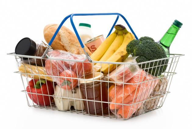 shopping basket full of healthy food