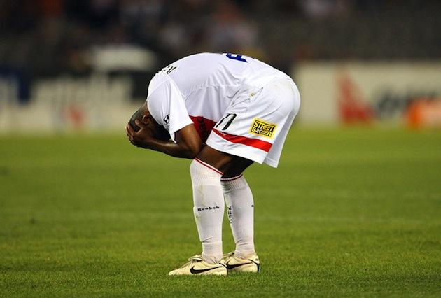 Soccer player crying