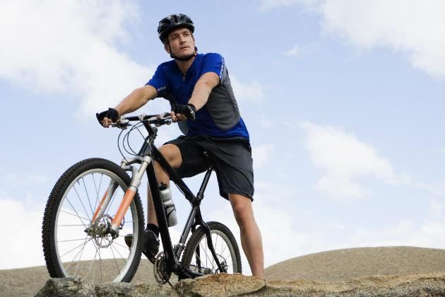 young guy on mountain bike