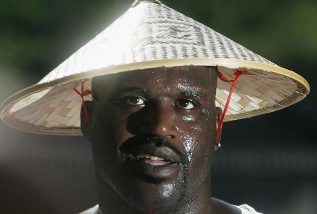Shaquille O&#039;Neal wears rice hat