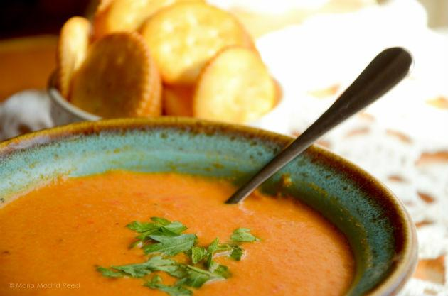 bowl of spicy red bell pepper vegan soup