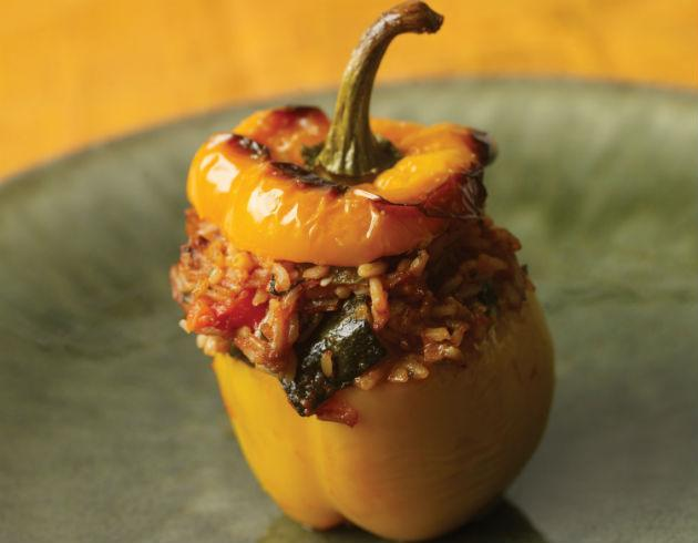 bell pepper stuffed with beef and rice