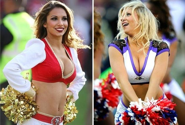 Baltimore Ravens and San Francisco 49ers cheerleaders for Super Bowl XLVII