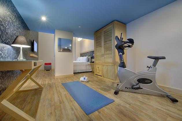 Hotel room with exercise equipment