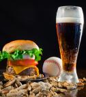 burger, beer, and peanuts