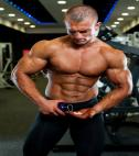Bodybuilder using HGH supplements to build muscle