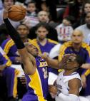 Kobe Bryant demonstrates NBA rivalry between Los Angeles Lakers and Los Angeles Clippers