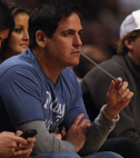 Mark Cuban watching the game