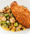breaded chicken with brussels sprouts