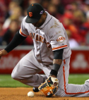 Pablo Sandoval #48 of the San Francisco Giants misplays a groundball