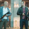 Bruce Willis and Jai Courtney on the set of Die Hard