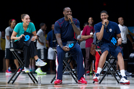Diana Taurasi, LeBron James and Anthony Davis
