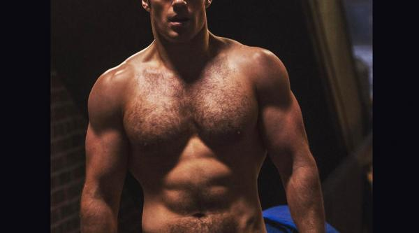 Henry Cavill poses during training for his on-screen role as Superman.