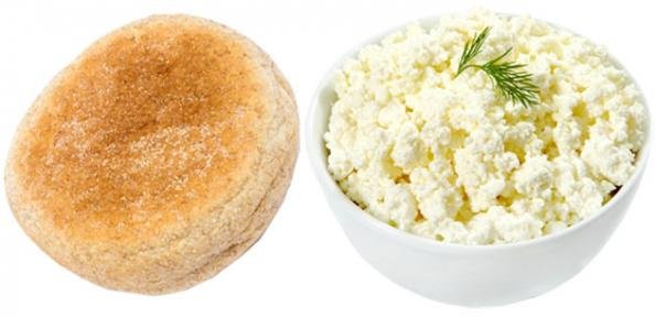 Whole-wheat English muffin + ½ cup cottage cheese