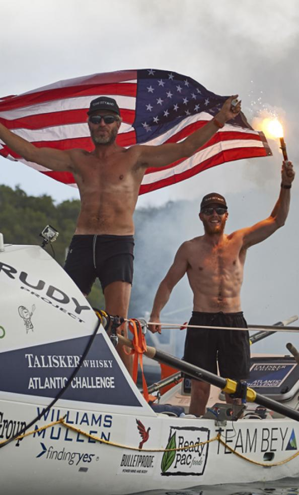 Phil Theodore and Daley Ervin of Team Beyond complete the Talisker Whisky Atlantic Challenge.