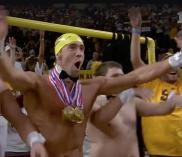 "Michael Phelps joins ASU's 942 Crew behind the ""Curtain of Distraction."""