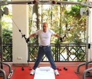 Vladimir Putin works out in Sochi, Russia.