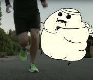 Matthew Inman of The Oatmeal runs with The Blerch in a Saucony spot.